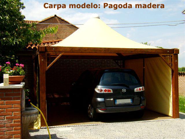 Carpas estructuras for Carpas de madera para jardin